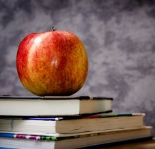apple on top of stack of books
